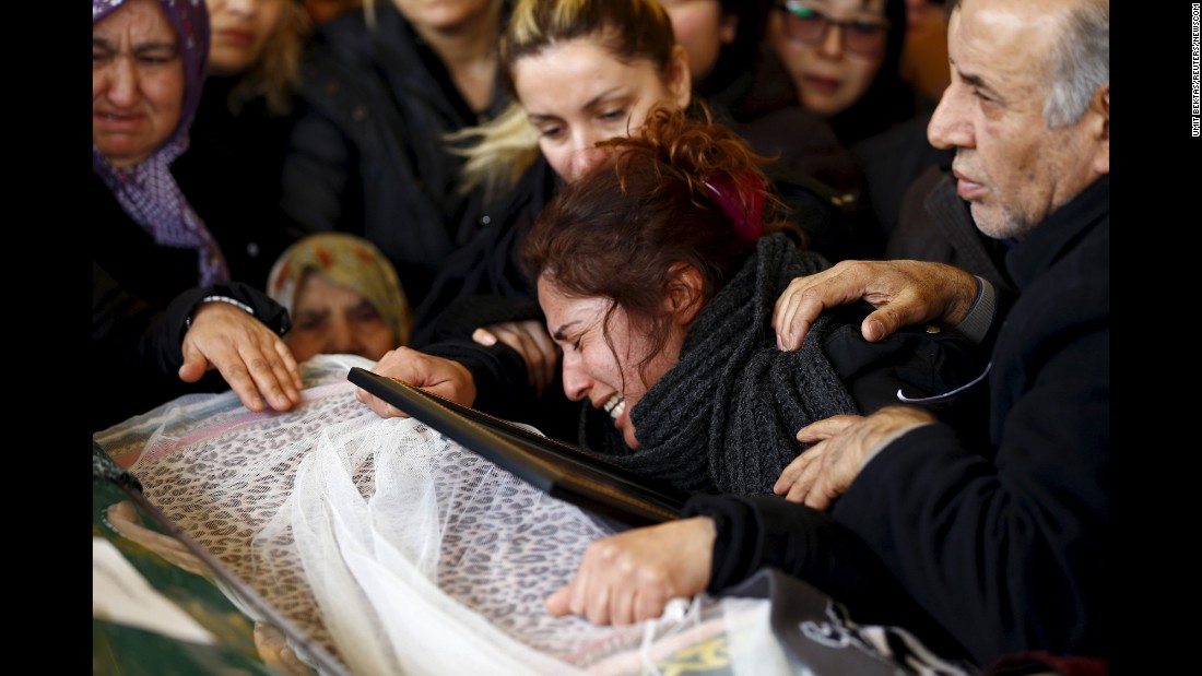 "The mother of Destina Peri Parlak, a victim of a car bomb attack, mourns over her daughter's coffin in Ankara, Turkey, on Tuesday, March 15. <a href=""http://www.cnn.com/2016/03/17/world/ankara-blast/index.html"" target=""_blank"">At least 37 people were killed</a> in an attack claimed by the Kurdish Freedom Falcons, an offshoot of the Kurdish separatist group PKK."