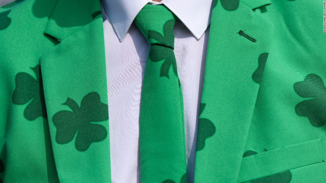 "A man in Cheltenham, England, wears a shamrock-covered suit on St. Patrick's Day, Thursday, March 17. <a href=""http://www.cnn.com/2016/03/17/world/gallery/st-patricks-day-2016/index.html"" target=""_blank"">See photos of St. Patrick's Day celebrations around the world</a>"