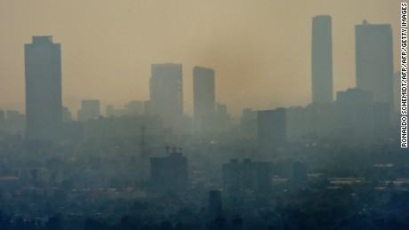 A smog envelopes skyscrapers in Mexico City in December 2015. The city is considered one of the most polluted in the world.