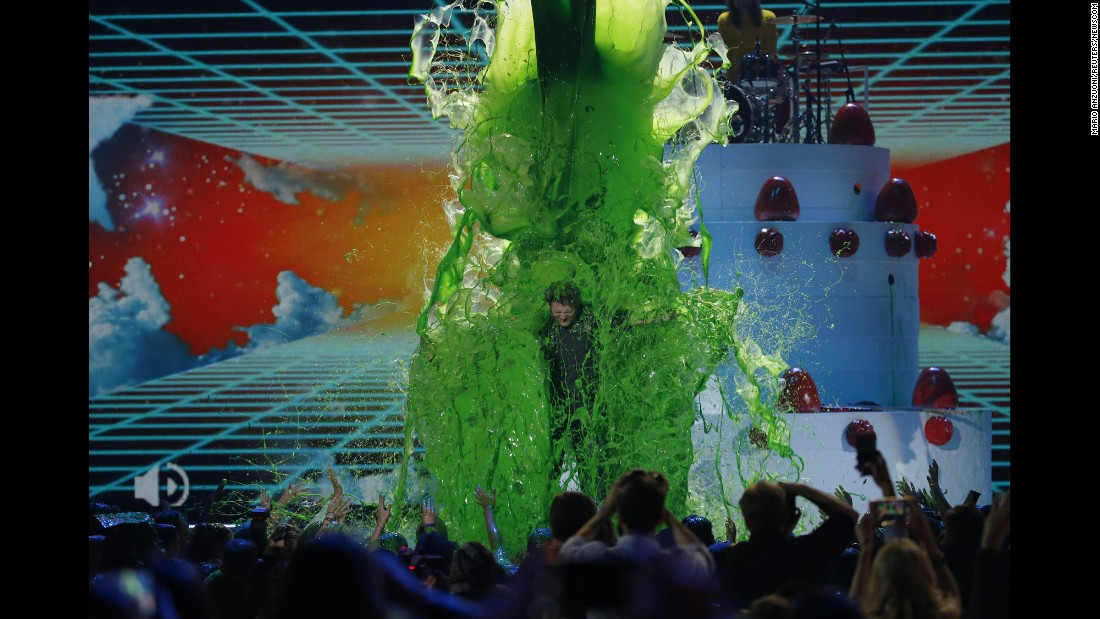 Country singer Blake Shelton is slimed on stage at the end of the Nickelodeon Kids' Choice Awards, which he hosted on Saturday, March 12.