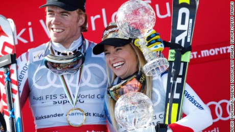 Kilde (left) and Gut celebrate their super-G successes in St. Moritz.