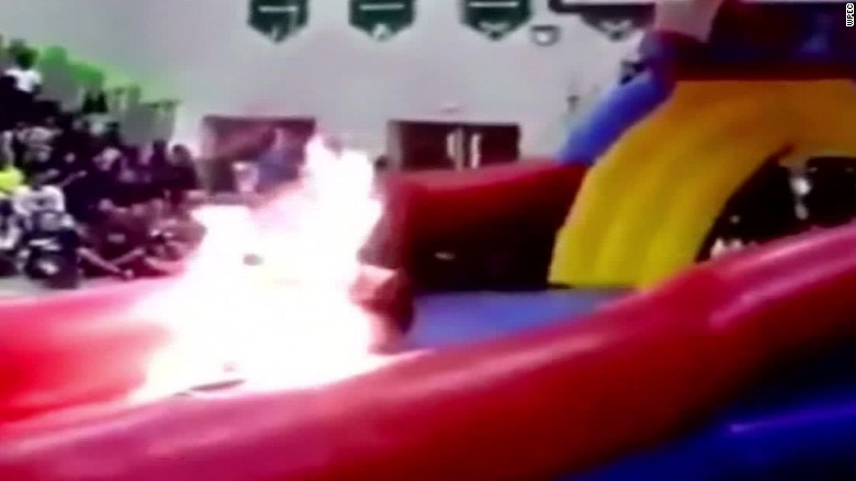 Performer catches fire at Florida pep rally