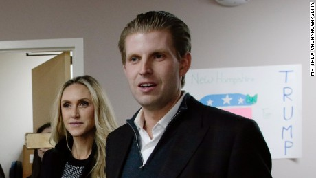 Eric Trump, son of Republican presidential candidate Donald Trump, along with his wife, Lara, thanks volunteers as they make phone calls to New Hampshire voters at Trump's campaign office on February 9, 2016, in Manchester, New Hampshire.