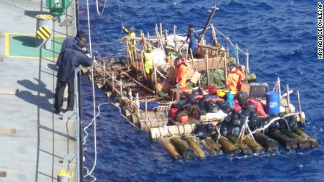 The rafts were rescued hundreds of miles off the coast of Chile.
