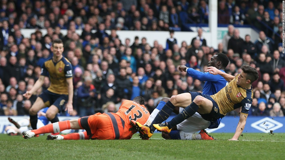 Colombian goalkeeper David Ospina of Arsenal collides with Romelu Lukaku of Everton during the Premier League match between Everton and Arsenal. Though Ospina -- himself a substitute for injured Petr Cech -- remained in the match, he walked off limping after the final whistle.