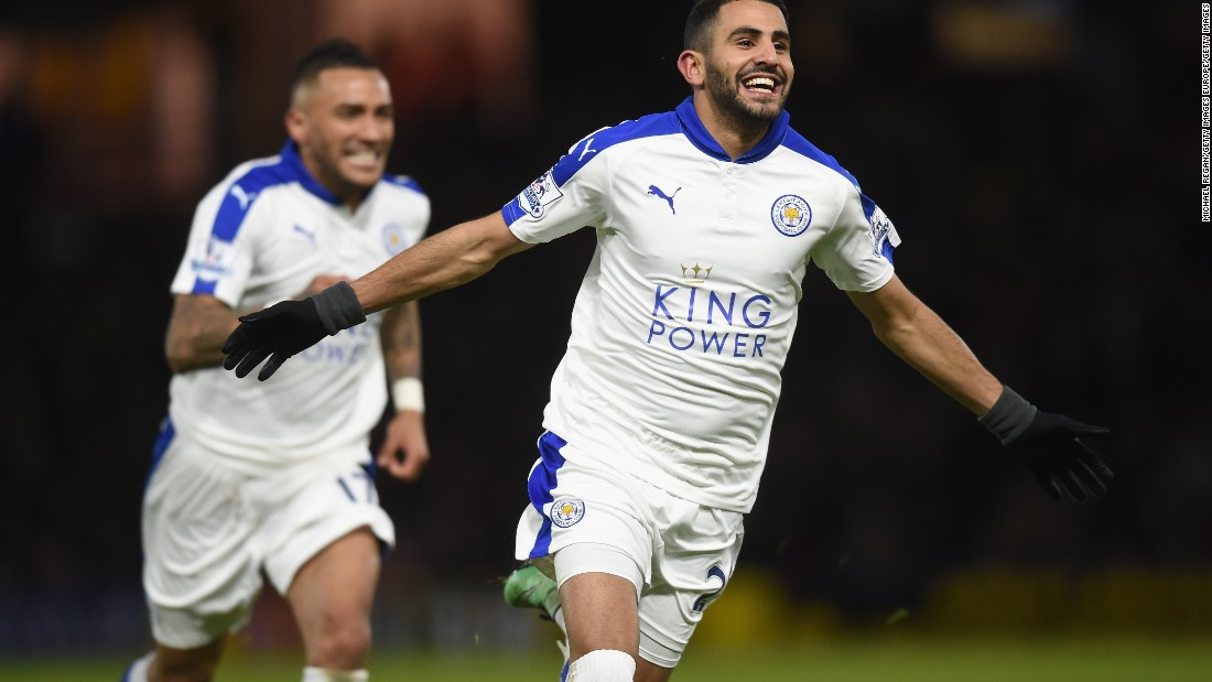 Riyad Mahrez of Leicester City celebrates scoring his 16th league goal to power his team past Watford at Vicarage Road. The Foxes are now eight points clear in the Premiership title race.