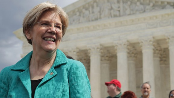 Sen. Elizabeth Warren (D-MA) joins fellow Senate Democrats for a news conference in front of the Supreme Court to call on Senate Majority Leader Mitch McConnell (R-KY) and Republicans to