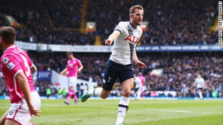 Harry Kane of Tottenham Hotspur celebrates after scoring his second goal in the 3-0 win over Bournemouth.