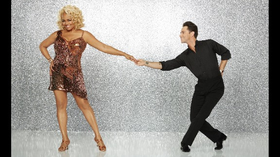 """Actress Kim Fields, was paired with pro dancer Sasha Farber, starred in """"Facts of Life"""" as a child and """"Living Single"""" as a young adult and currently stars on """"The Real Housewives of Atlanta."""" They were eliminated in week 7."""