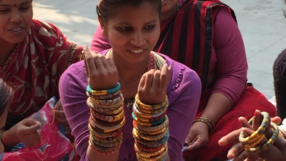 The women of Apne Aap have survived human trafficking and now make jewelry from upcycled saris for the Who's Sari Now? line to sell in America.