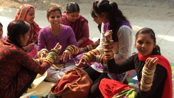 Who's Sari Now? The women of Apne Aap have survived human trafficking and now make jewelry from upcycled saris for Rosena Sammi Jewelry.