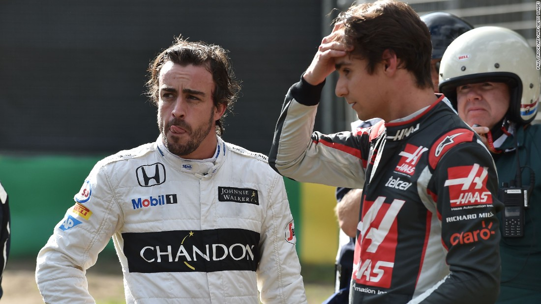 Alonso (left) and Gutierrez both escaped uninjured from the horrific smash. The two hugged before both were taken for medical assessment.