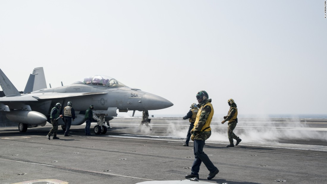 The carrier arrived in the region in mid-March to participate in joint annual exercises between the U.S. and South Korea amid tension in the Korean peninsula.
