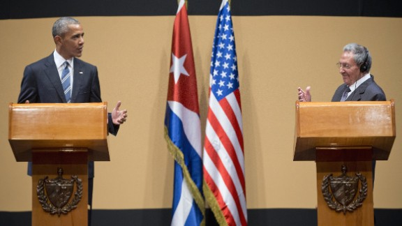 President Barack Obama and Cuban President Raul Castro participate in a joint news conference at the Palace of the Revolution, Monday, March 21, in Havana, Cuba.
