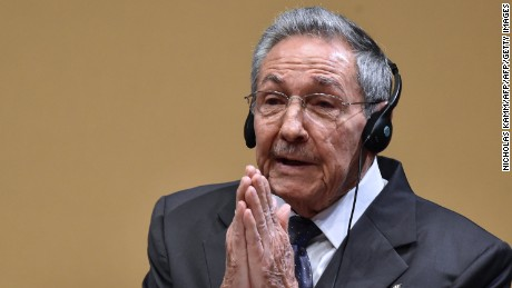"Cuban President Raul Castro gestures as he delivers a joint press conference with US President Barack Obama (out of frame) after a meeting at the Revolution Palace in Havana on March 21, 2016. Cuba's Communist President Raul Castro on Monday stood next to Barack Obama and hailed his opposition to a long-standing economic ""blockade,"" but said it would need to end before ties are fully normalized.   AFP PHOTO/Nicholas KAMM / AFP / NICHOLAS KAMM        (Photo credit should read NICHOLAS KAMM/AFP/Getty Images)"