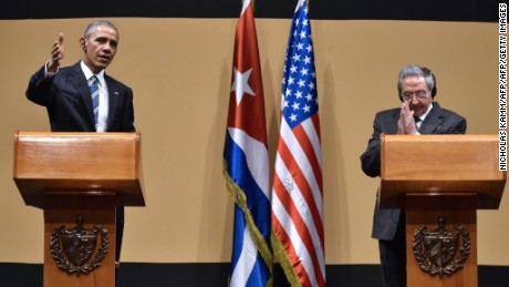 "US President Barack Obama (L) and Cuban President Raul Castro give a joint press conference at the Revolution Palace in Havana on March 21, 2016. Cuba's Communist President Raul Castro on Monday stood next to Barack Obama and hailed his opposition to a long-standing economic ""blockade,"" but said it would need to end before ties are fully normalized.   AFP PHOTO/Nicholas KAMM / AFP / NICHOLAS KAMM        (Photo credit should read NICHOLAS KAMM/AFP/Getty Images)"