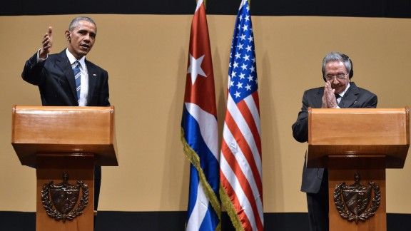 US President Barack Obama (L) and Cuban President Raul Castro give a joint press conference at the Revolution Palace in Havana on March 21, 2016. Cuba
