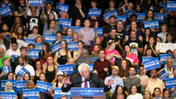 Bernie Sanders speaks during a campaign rally at West High School on March 21, 2016 in Salt Lake City, Utah.