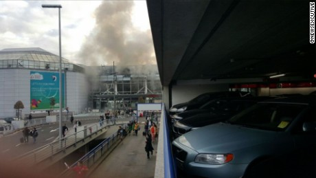 Smoke rises from Brussels Airport after attack.