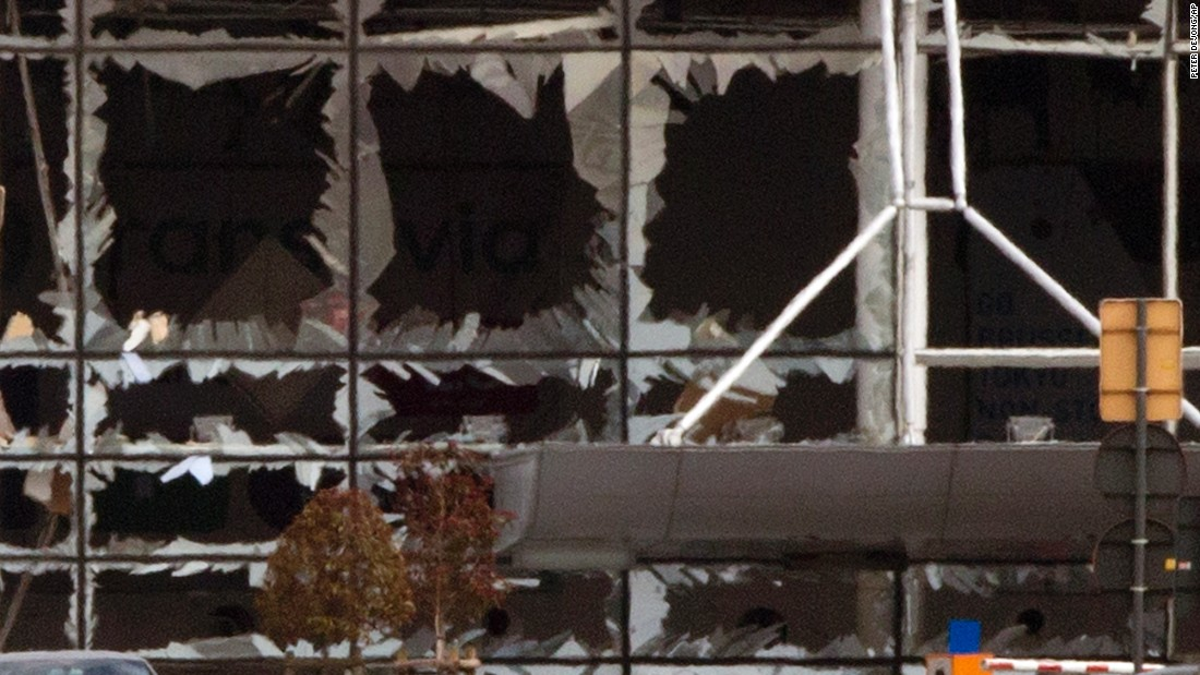 Windows are blown out after the deadly attack at the airport.
