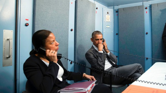President Obama and national security adviser Susan Rice receive an update on the Brussels attacks from Homeland Security Advisor Lisa Monaco.