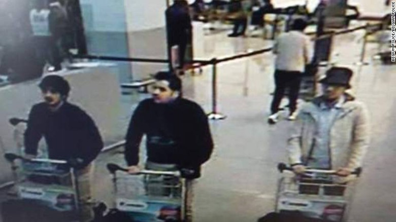 Police: Footage may show Brussels airport bombers