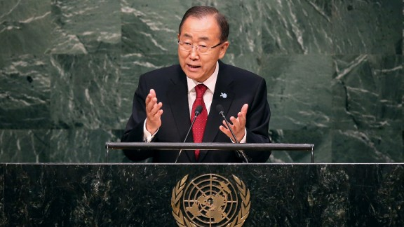 United Nations Secretary-General Ban Ki-moon delivers opening remarks at the United Nations General Assembly at UN headquarters on September 28, 2015, in New York City.