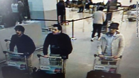 The three men who are suspected of taking part in the attacks at Belgium's Zaventem Airport.