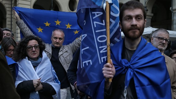 People in Turin, Italy, take part in a rally to remember the victims on March 22.