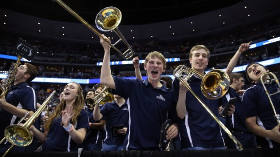 The Gonzaga University band shouts during the second half of an NCAA Tournament game in Denver on Saturday, March 19. Gonzaga is one of the 16 teams remaining in the men