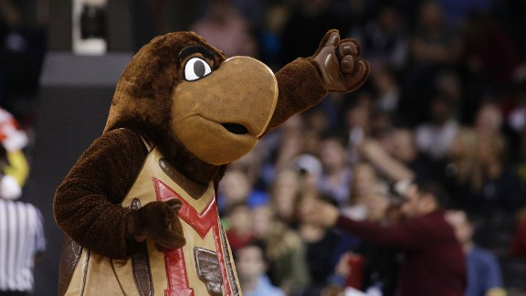 Maryland's mascot, Testudo, performs during a game on Sunday, March 20.