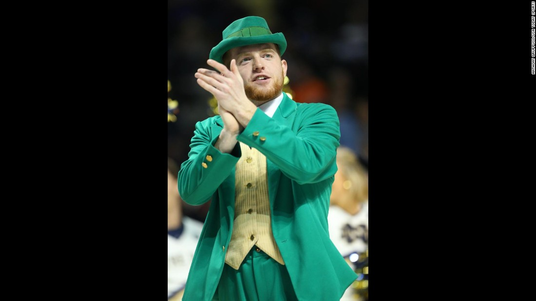 Notre Dame's leprechaun mascot claps during the second-round game against Stephen F. Austin on Sunday, March 20.