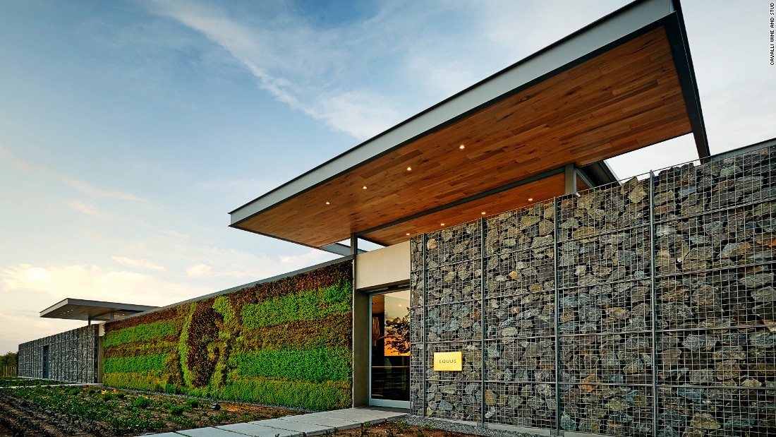The estate combines the owner's passions for wine, cuisine and horses, but also incorporates  sustainable design including Gabion walls which use locally quarried stones.
