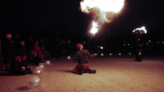 The Luminary included ice sculpture, professional fire dancers and fire pits with free s