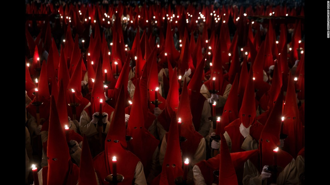Penitents take part in a parade in Zamora on March 23.