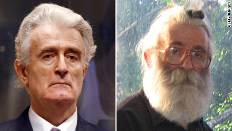 When Karadzic was found, he'd grown a long beard and wore spectacles to disguise himself.