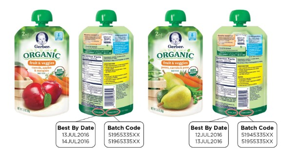 Gerber voluntarily recalled two organic baby foods because a packaging defect may make them susceptible to spoilage during transport and handling, the U.S. Food and Drug Administration and the company said on March 24.