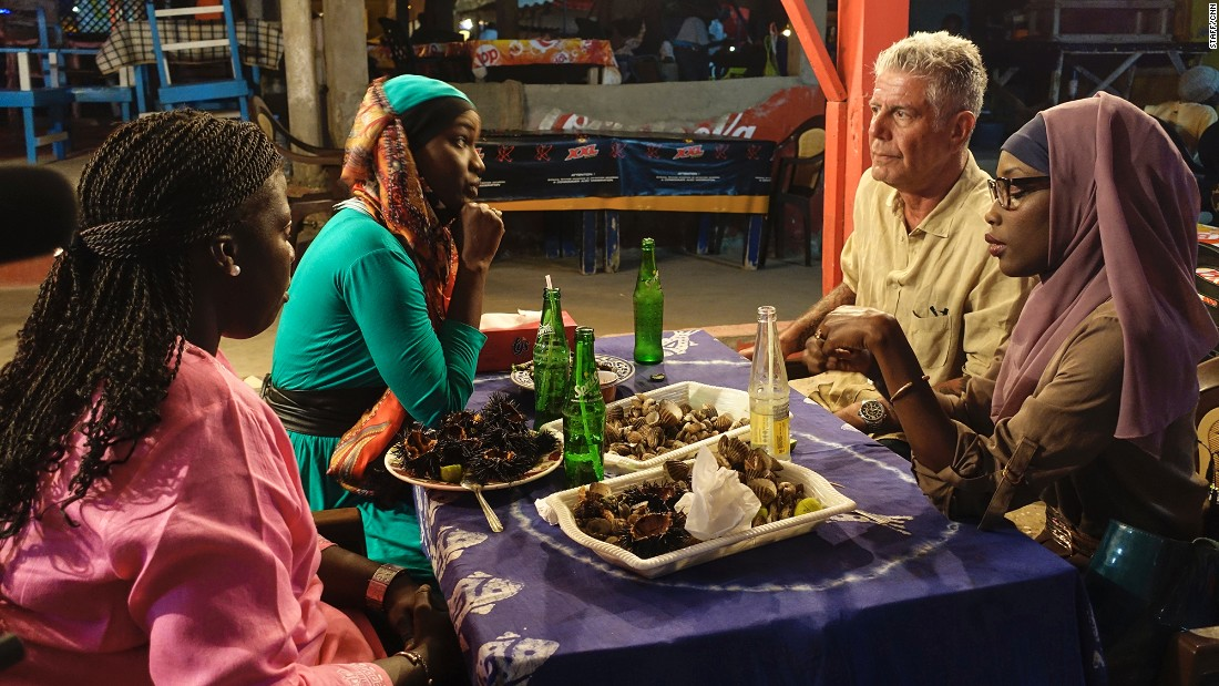 "<strong>""Anthony Bourdain Parts Unknown"" season 5</strong>: CNN's Anthony Bourdain travels the world sampling delicious cultures. Here, he has clams and sea urchins with some young women in Dakar, Senegal. <strong>(Netflix) </strong>"