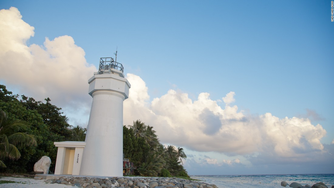A lighthouse on Taiping Island, also known as Itu Aba, in the South China Sea.