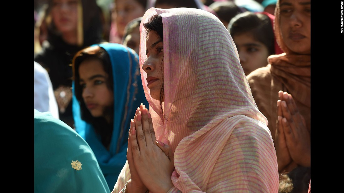 Pakistani Christians attend Mass to mark Good Friday at St. Anthony's Church in Lahore on March 25.
