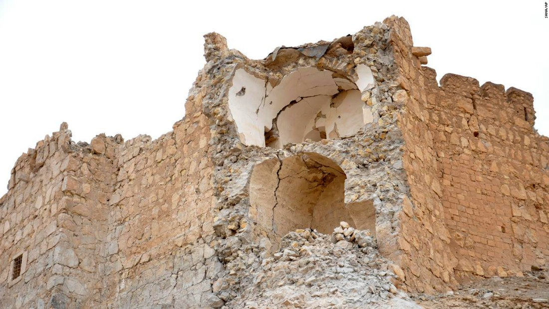 Damage to the Palmyra Castle, the ancient hilltop citadel formally known as Fakhr-al-Din al-Maani Castle, can be seen following the fighting on March 27.