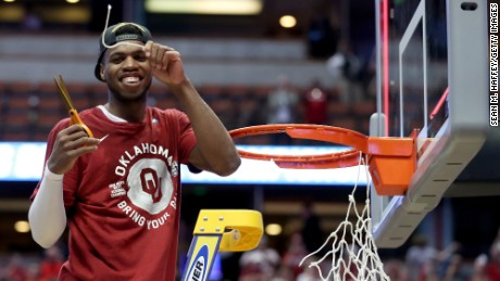 Buddy Hield was all smiles after No. 2 Oklahoma defeated No. 1 Oregon 80-68 in the NCAA Men's Basketball Tournament West Regional Final at Honda Center on Saturday.