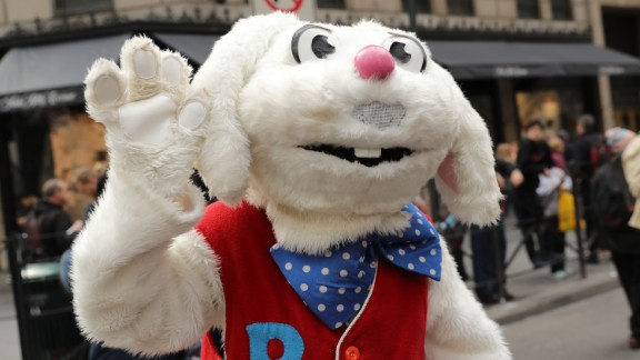 People in costume attend the 2016 New York City Easter Parade on Sunday, March 27, in New York City.