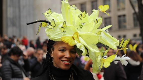 Butterflies adorn this yellow bonnet.