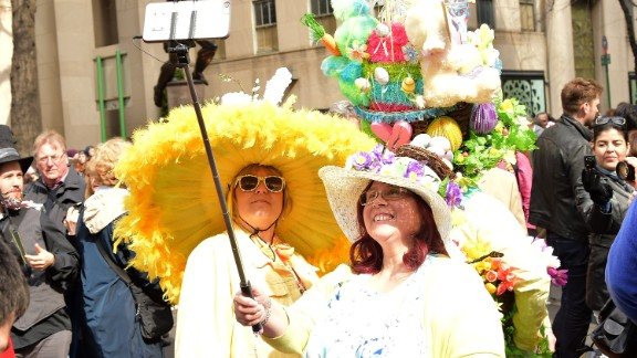 Participants pose for a selfie during the parade.