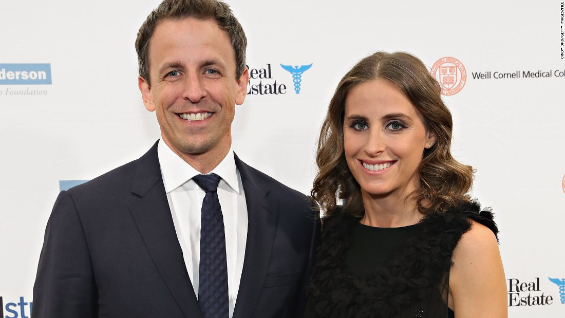 "Late Night host Seth Meyers and wife Alexi Ashe welcomed their second son on April 8. Ashe gave birth in their New York City apartment building lobby and Meyers<a href=""https://www.youtube.com/watch?v=BYG1qf3XJNM"" target=""_blank""> shared the dramatic story on his show. </a>New son Axel Strahl joins his big brother, Ashe Olsen, 2."