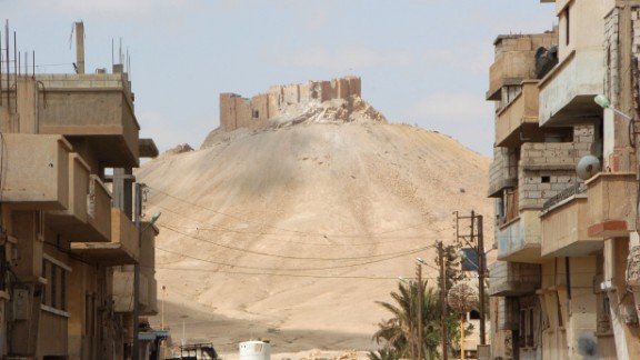 The ancient city of Palmyra as seen from a residential neighborhood of the modern part of the town.