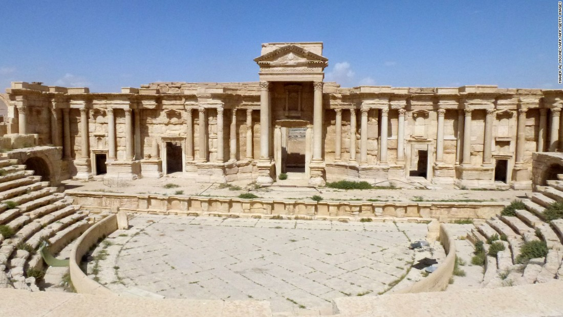 The amphitheater in the ancient Syrian city of Palmyra, largely undamaged after government troops recaptured the site.