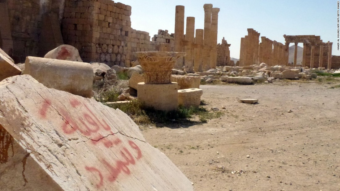 Graffiti seen on ancient stones that made up the 1st-century city of Palmyra, after the city was retaken by Syrian forces with Russian air support.
