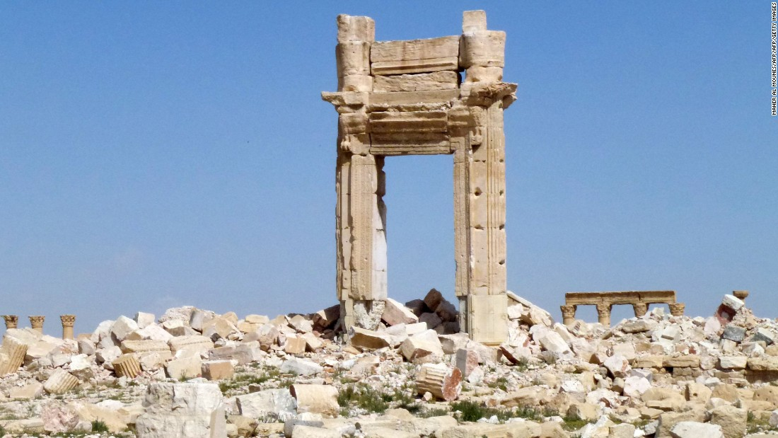 The remains of the entrance to the iconic Temple of Bel, destroyed by ISIS jihadists in September 2015 in the ancient city.